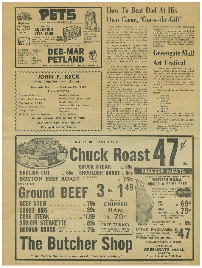 newspaper circular page 8 june 3 1969 greengate mall revisited